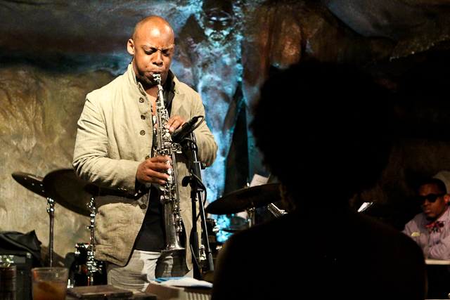 Serenading a silhouette: Marcus Strickland on saxophone at Bohem
